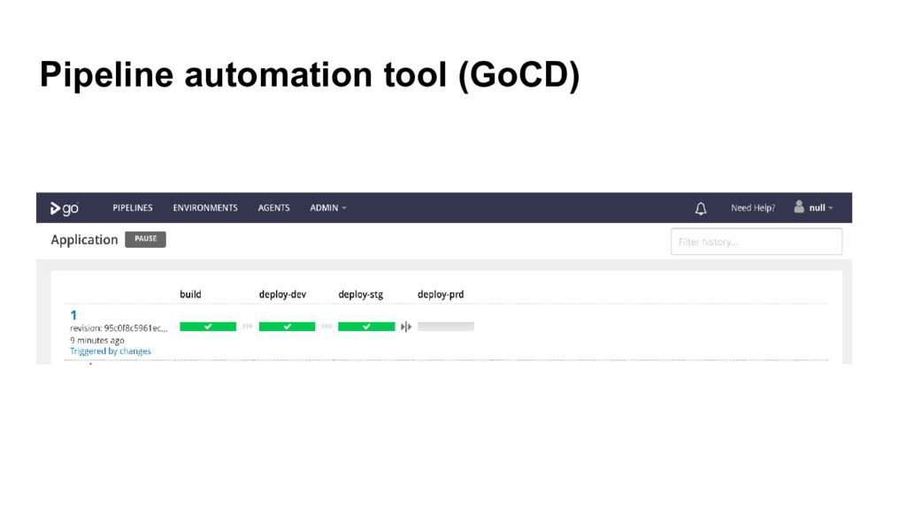 Pipeline automation tool (GoCD)