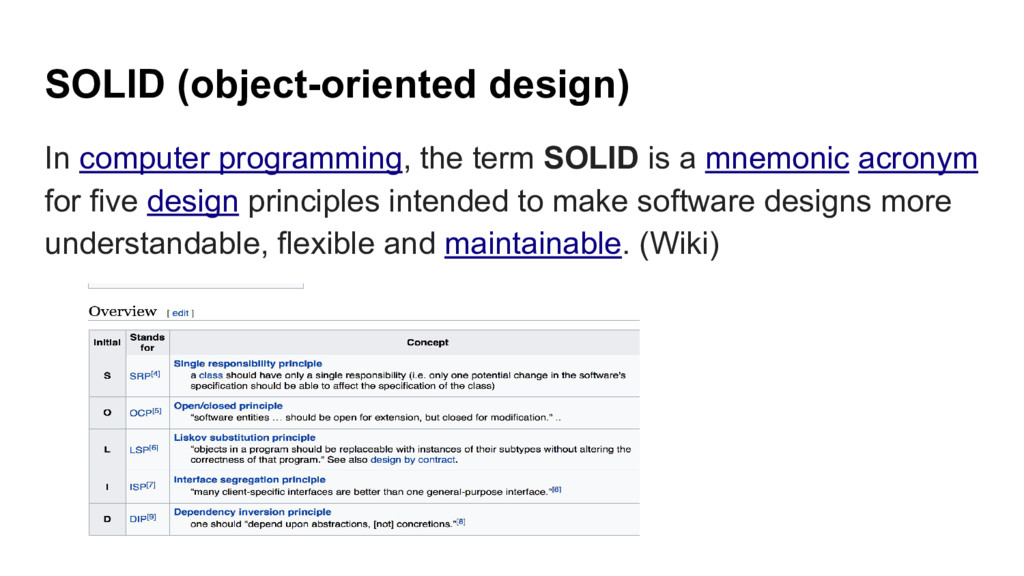 SOLID (object-oriented design) In computer prog...