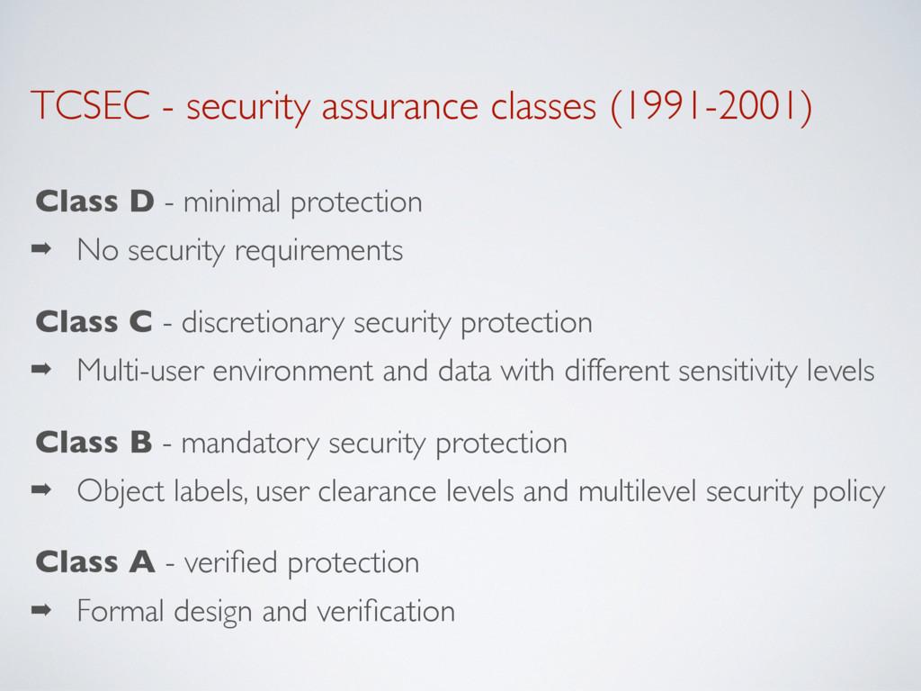 TCSEC - security assurance classes (1991-2001) ...