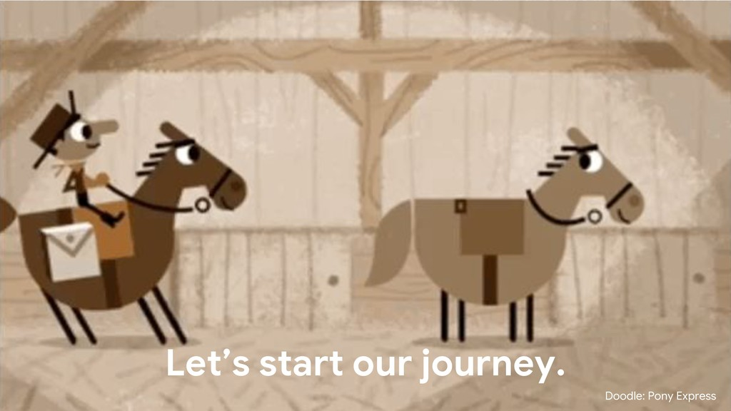 Let's start our journey. Doodle: Pony Express