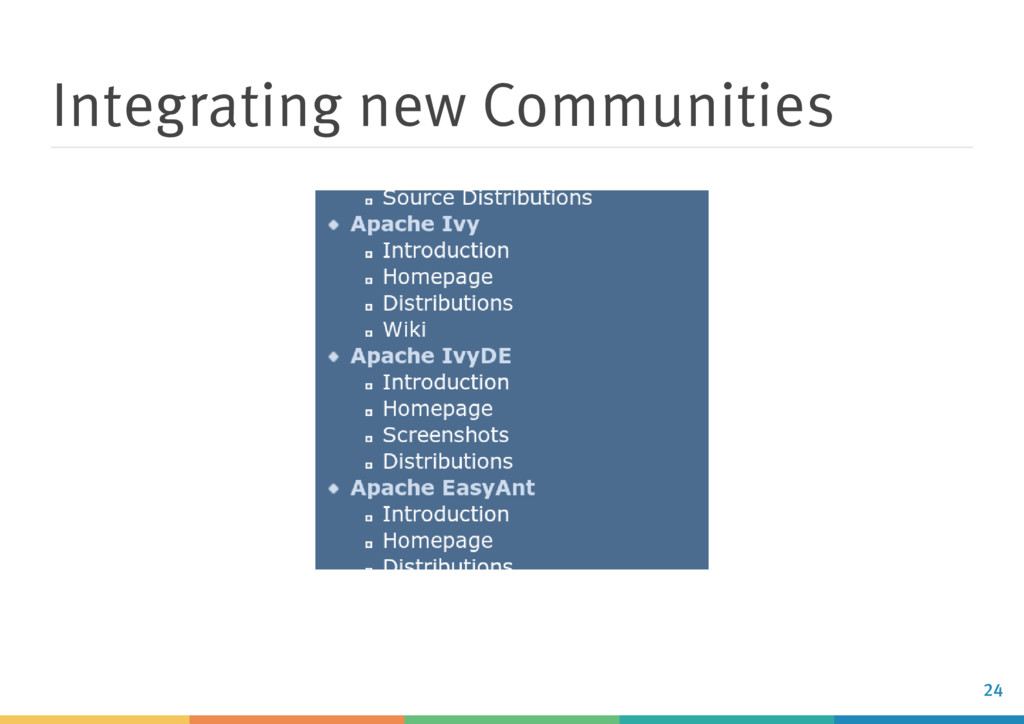 Integrating new Communities 24