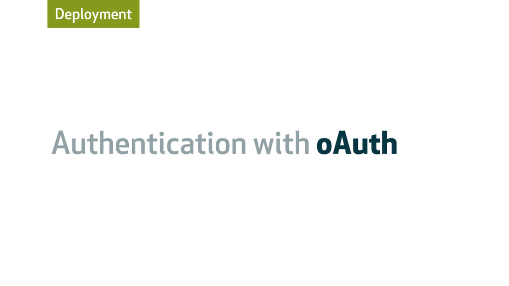 Deployment Authentication with oAuth
