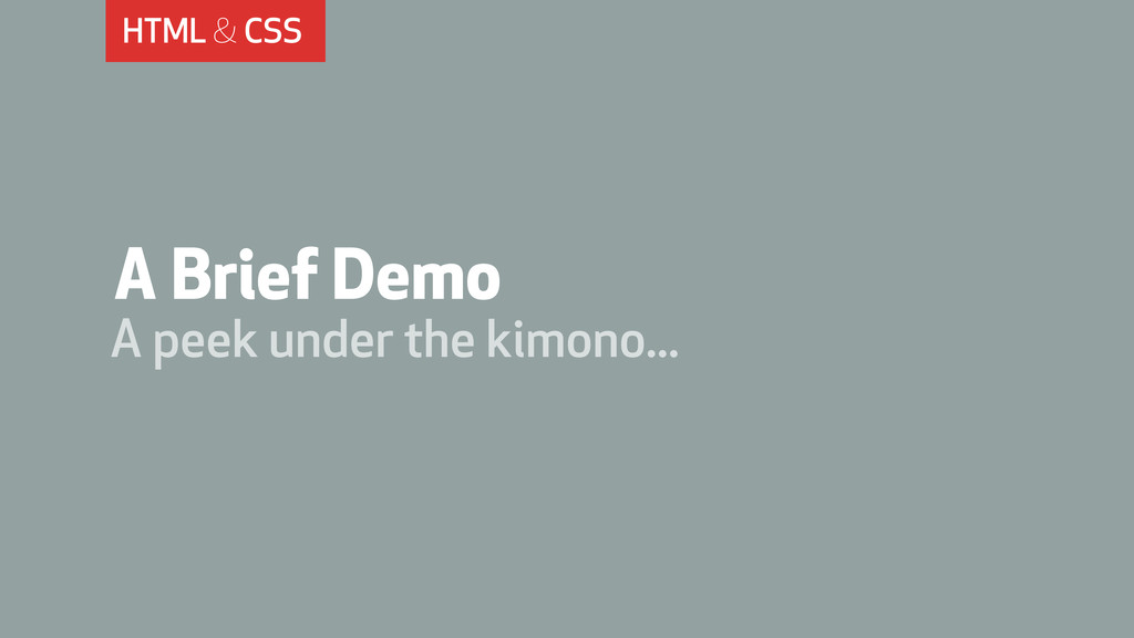 HTML & CSS A Brief Demo A peek under the kimono...
