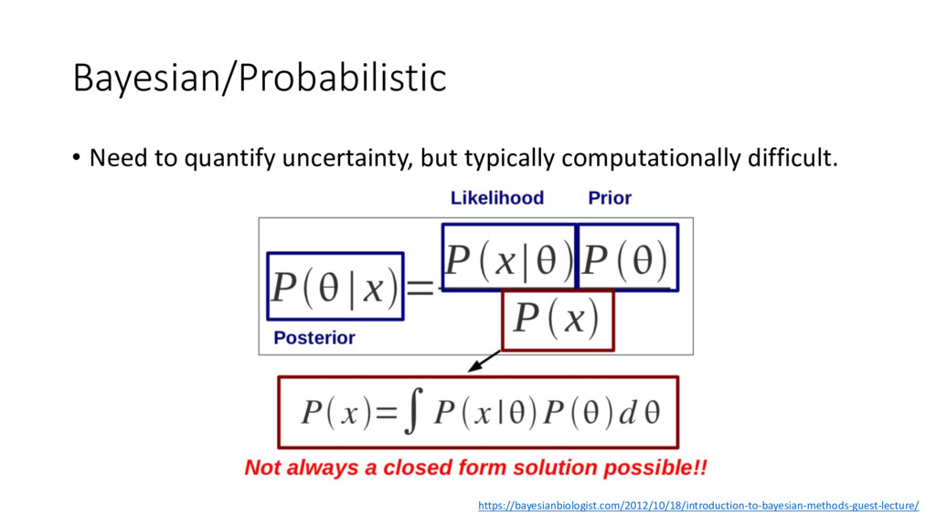 Bayesian/Probabilistic • Need to quantify uncer...