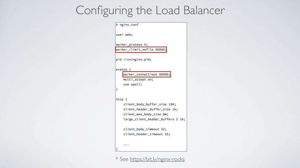 Configuring the Load Balancer * See https://bit....