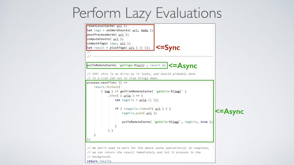 Perform Lazy Evaluations <=Async <=Async <=Sync