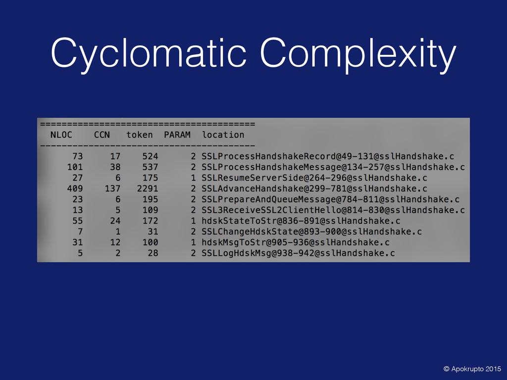 Cyclomatic Complexity © Apokrupto 2015