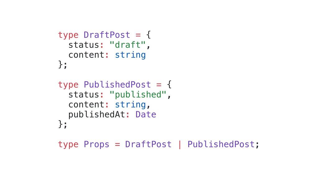 "type DraftPost = { status: ""draft"", content: st..."