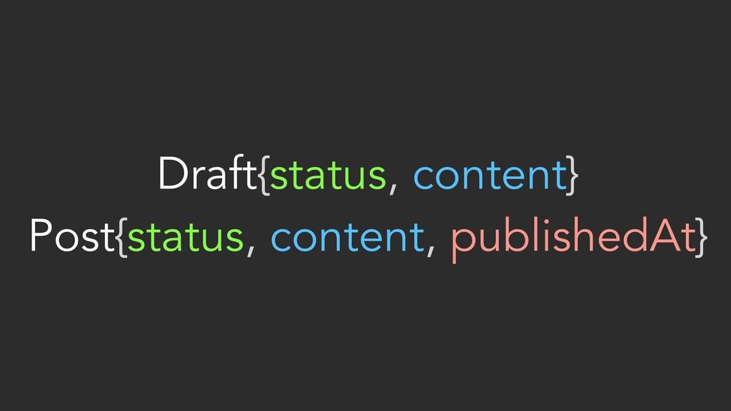 Draft{status, content} Post{status, content, p...