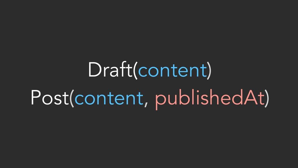 Draft(content) Post(content, publishedAt)