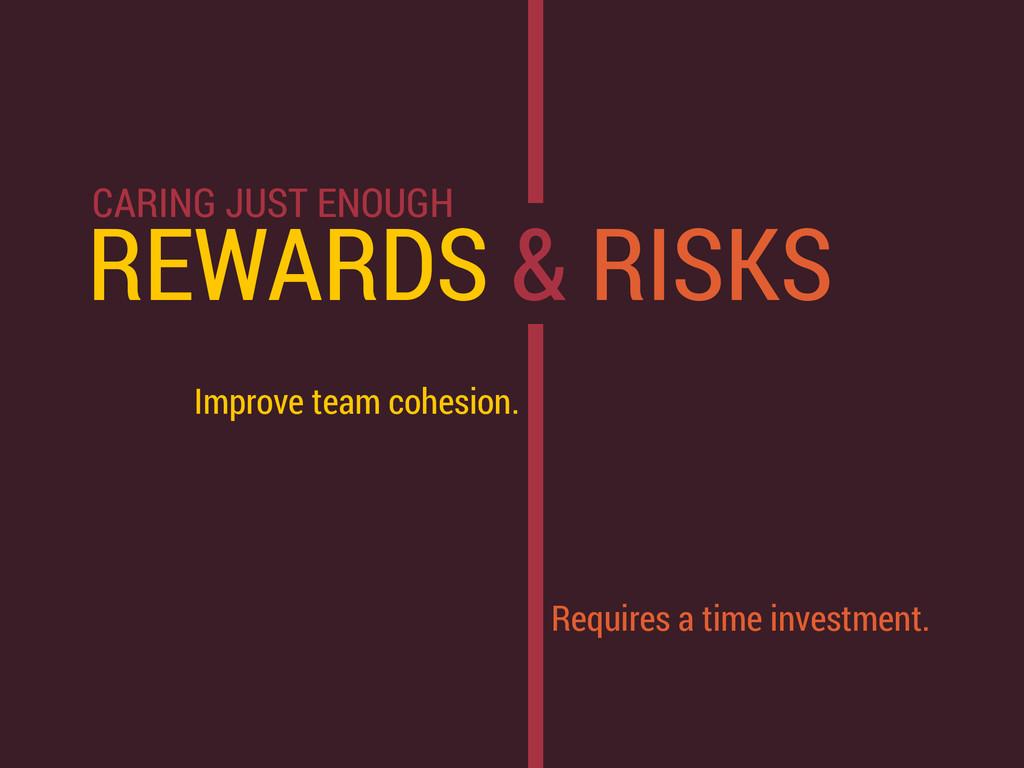REWARDS & RISKS Improve team cohesion. Requires...