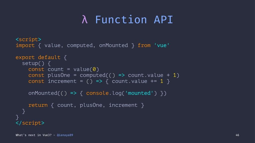λ Function API <script> import { value, compute...