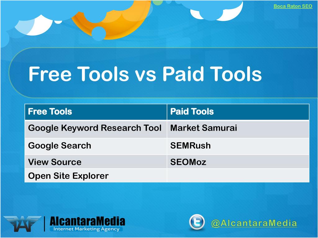 Boca Raton SEO Free Tools vs Paid Tools Free To...