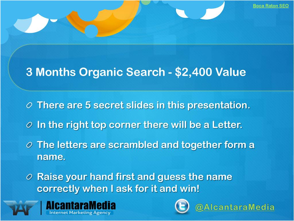 Boca Raton SEO 3 Months Organic Search - $2,400...