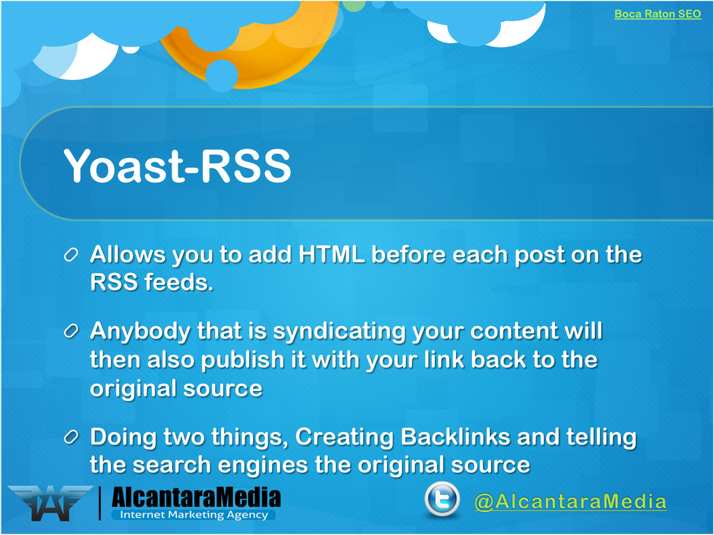 Boca Raton SEO Yoast-RSS !  Allows you to add ...