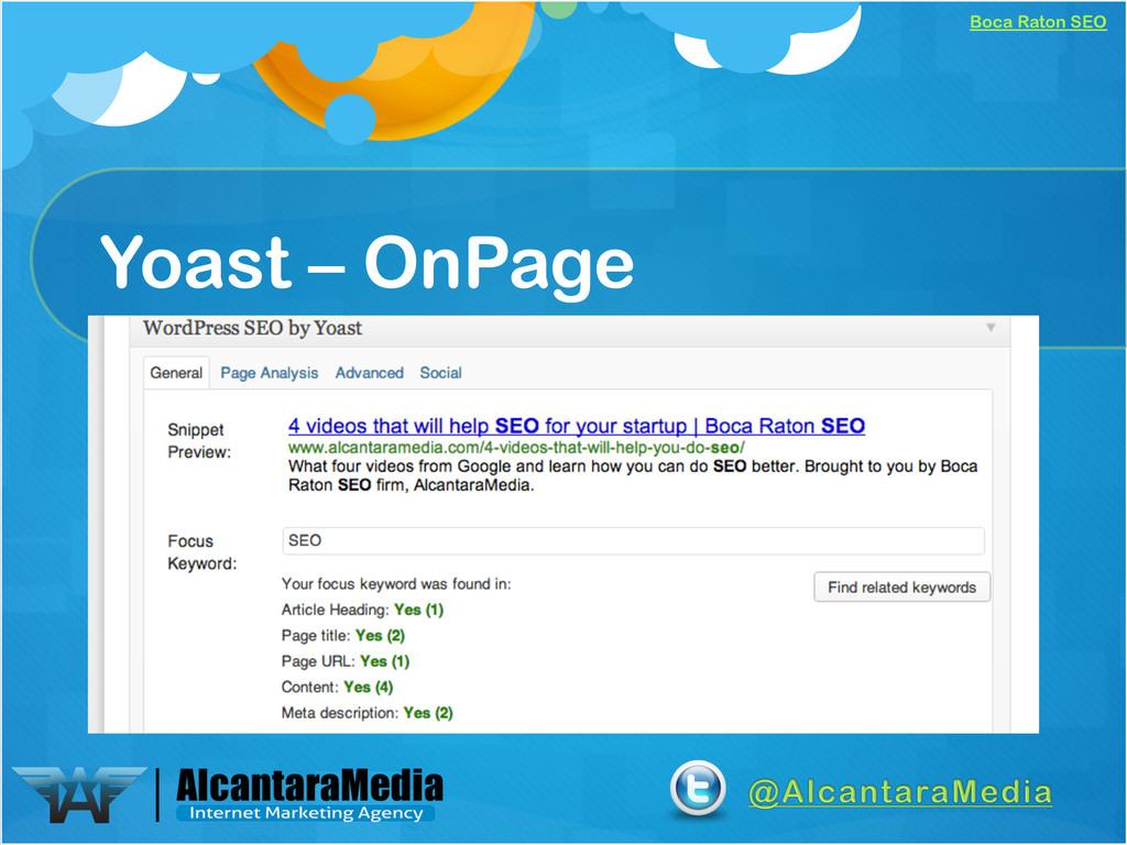 Boca Raton SEO Yoast – OnPage