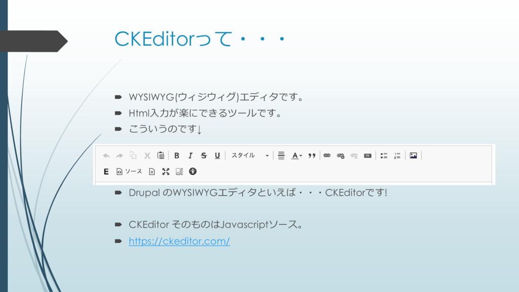 CKEditorって・・・  WYSIWYG(ウィジウィグ)エディタです。  Html入力...