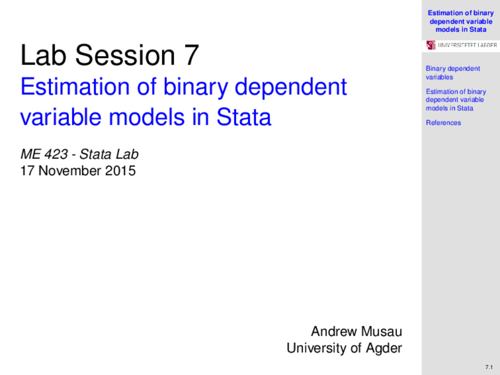 Estimation of binary dependent variable models ...