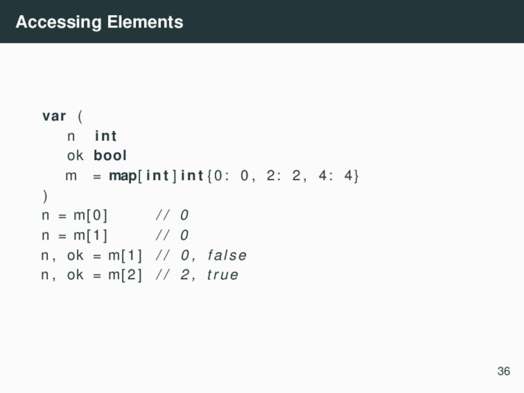 Accessing Elements var ( n int ok bool m = map[...