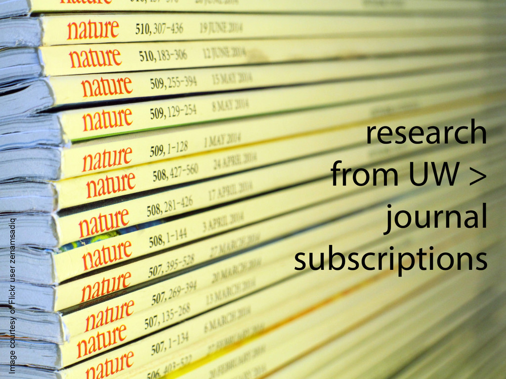 research from UW > journal subscriptions Image ...