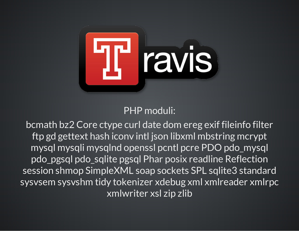 PHP moduli: bcmath bz2 Core ctype curl date dom...