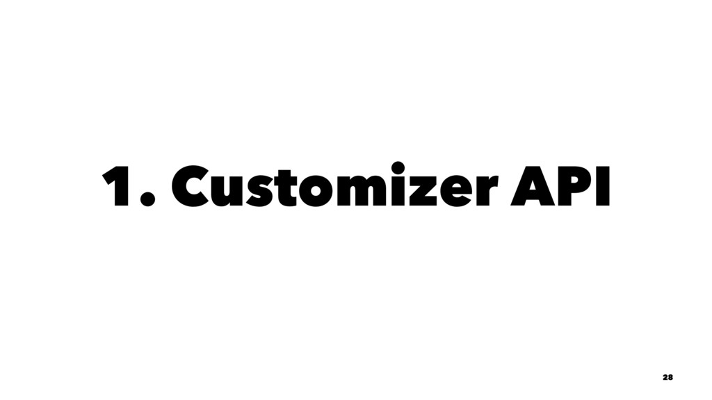 1. Customizer API 28