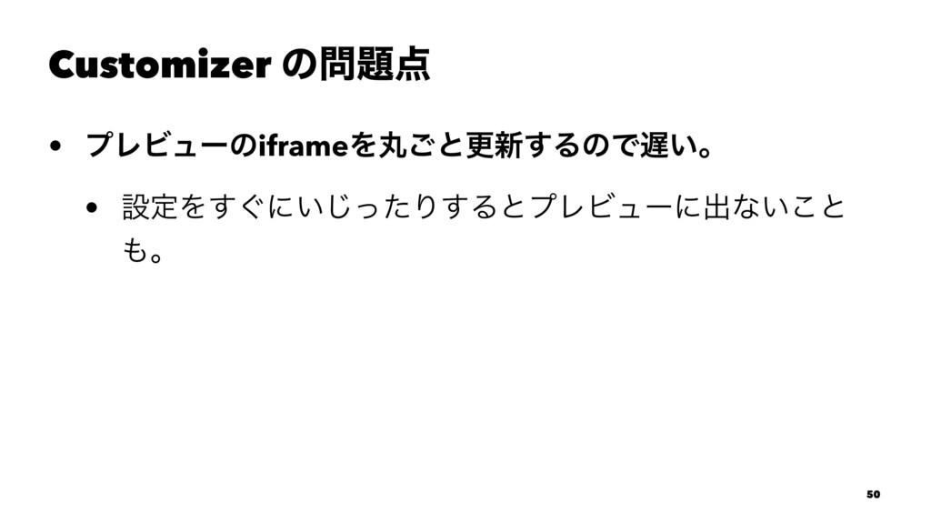 Customizer ͷ • ϓϨϏϡʔͷiframeΛؙ͝ͱߋ৽͢ΔͷͰ͍ɻ • ઃ...