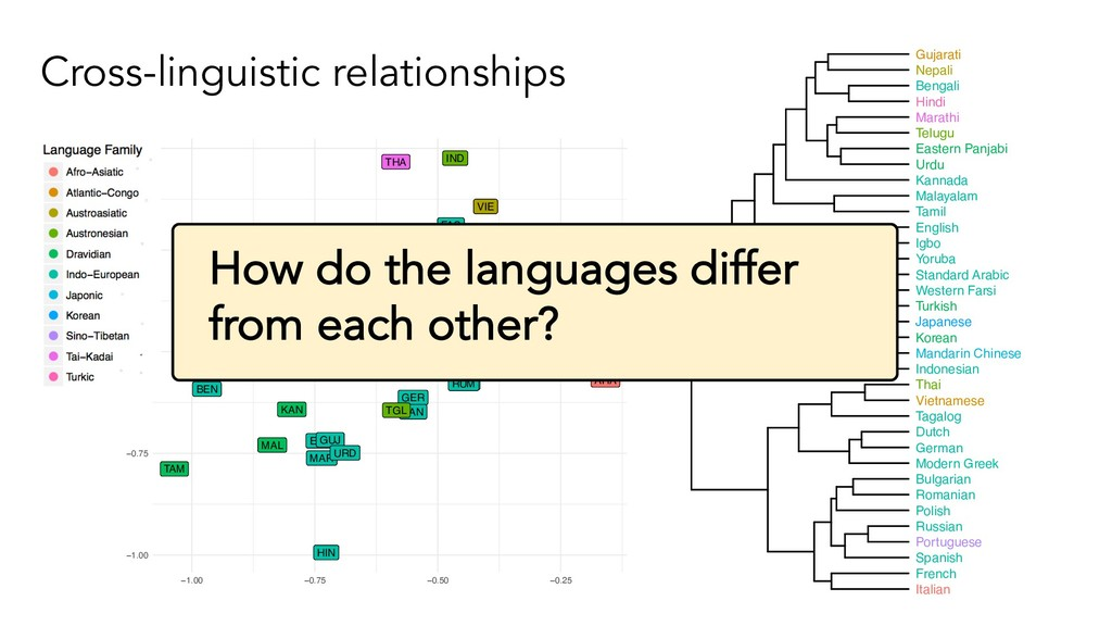 Cross-linguistic relationships ARA BEN BUL CHI ...