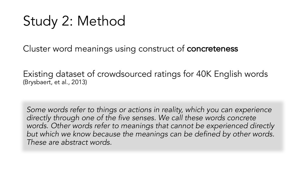 Cluster word meanings using construct of concre...