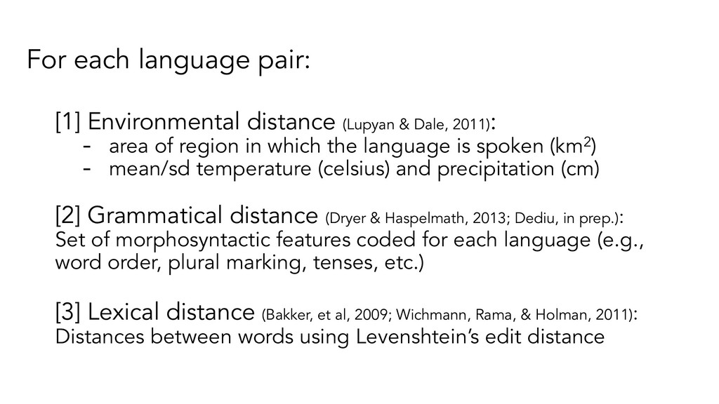 For each language pair: [1] Environmental dista...