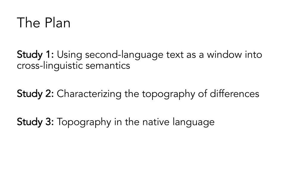 The Plan Study 1: Using second-language text as...