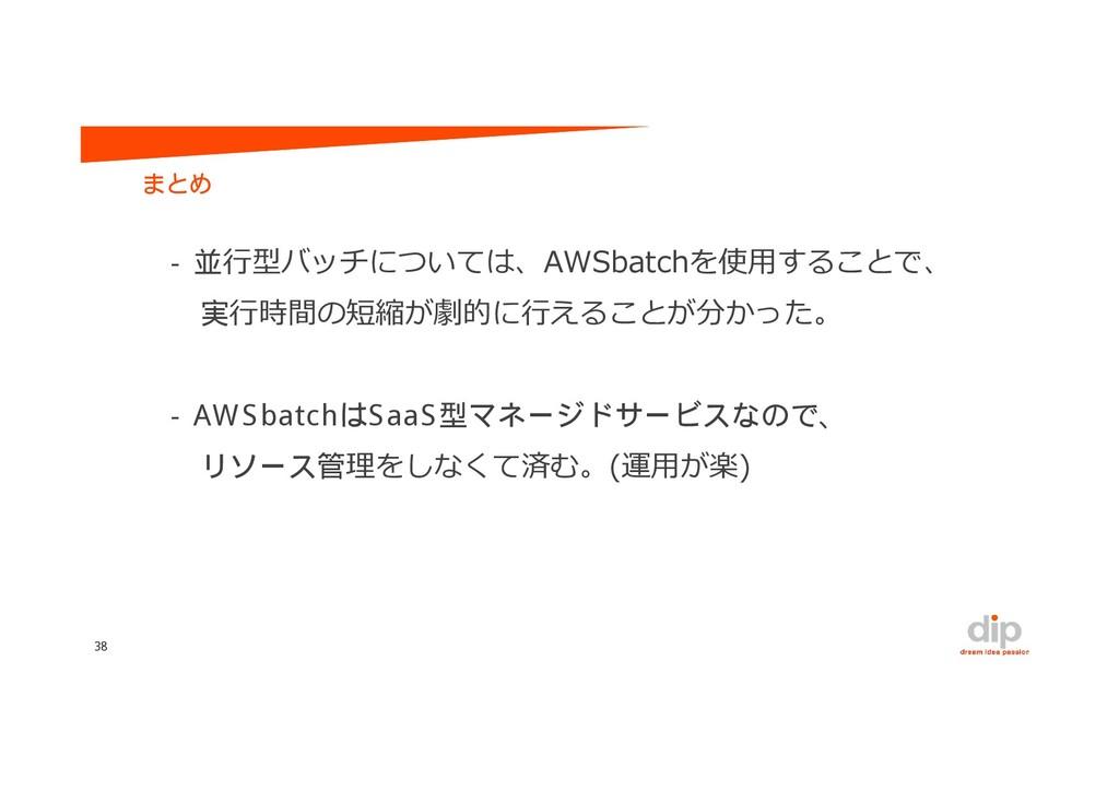 行型バッチについては、AWSbatchを使用することで、 行時間の短縮が劇的に行えることが分か...