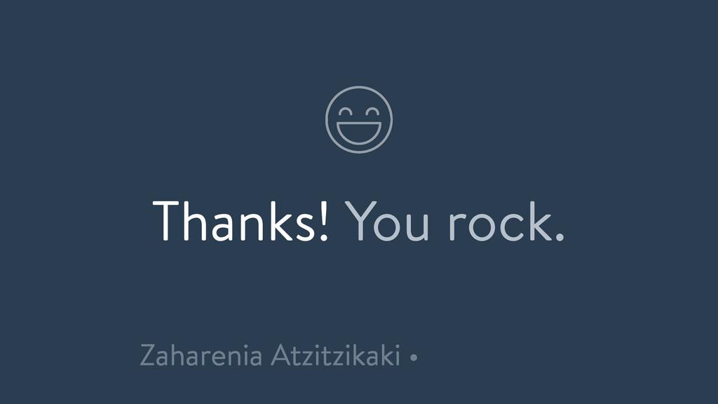 Thanks! You rock. Zaharenia Atzitzikaki •