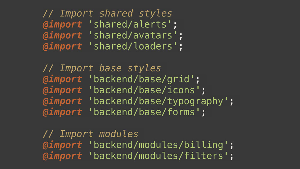 // Import shared styles @import 'shared/alerts'...
