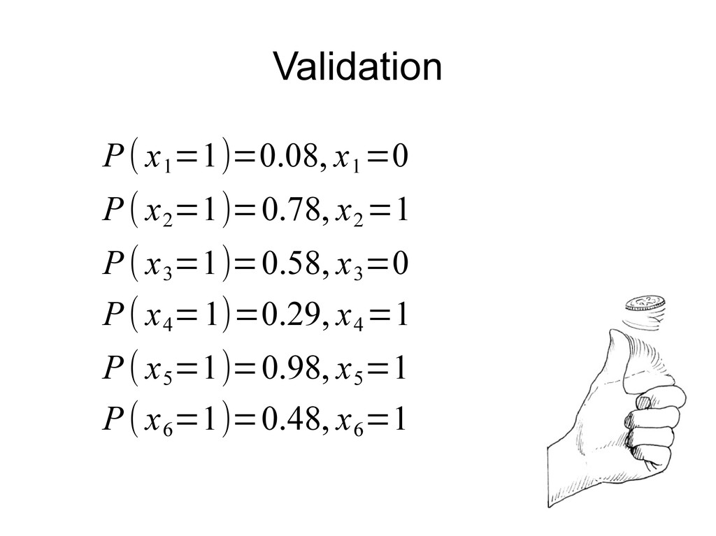 Validation P( x 1 =1)=0.08, x 1 =0 P( x 2 =1)=0...
