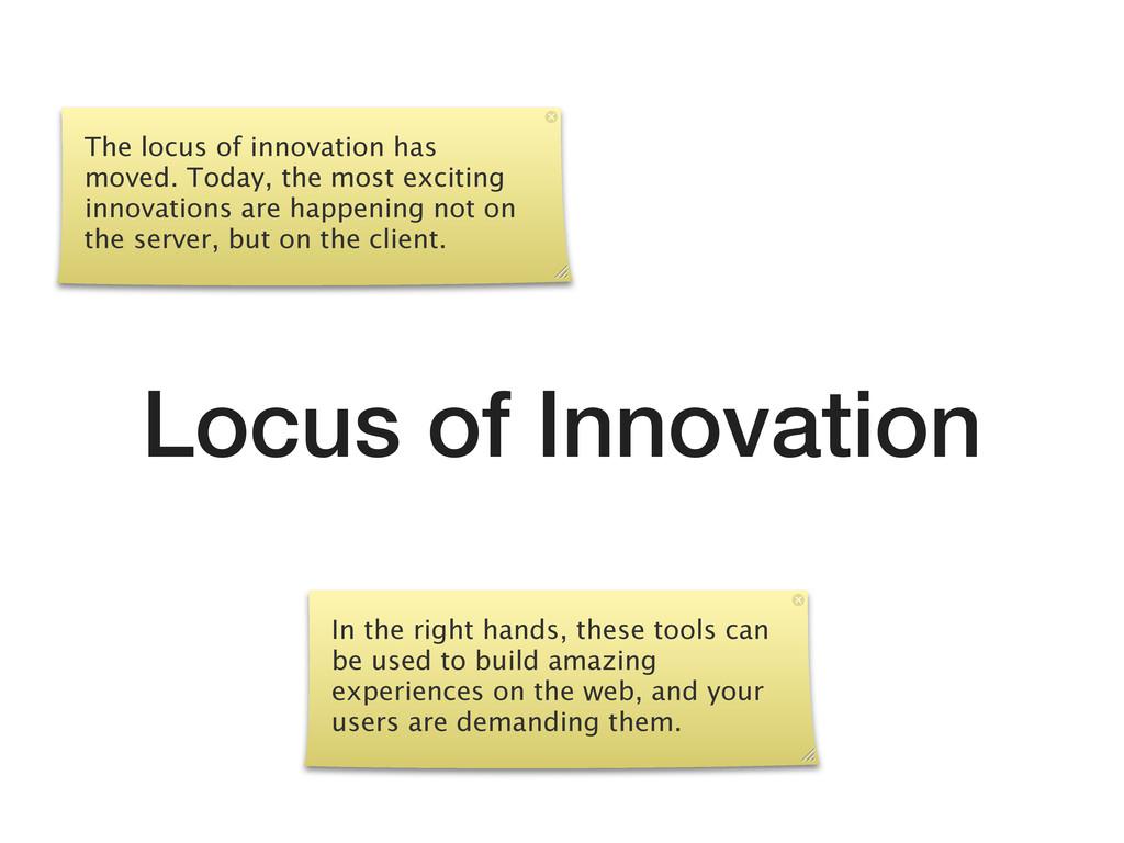 Locus of Innovation The locus of innovation has...