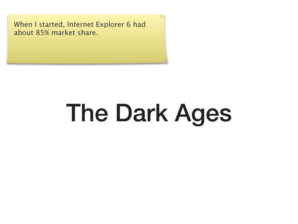 The Dark Ages When I started, Internet Explorer...