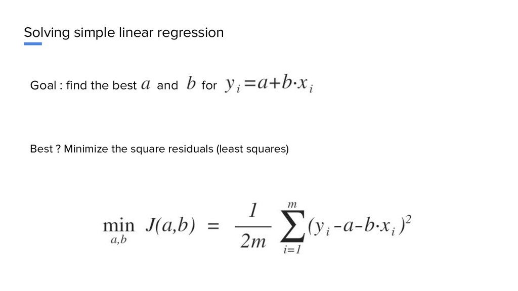 Solving simple linear regression Goal : find th...