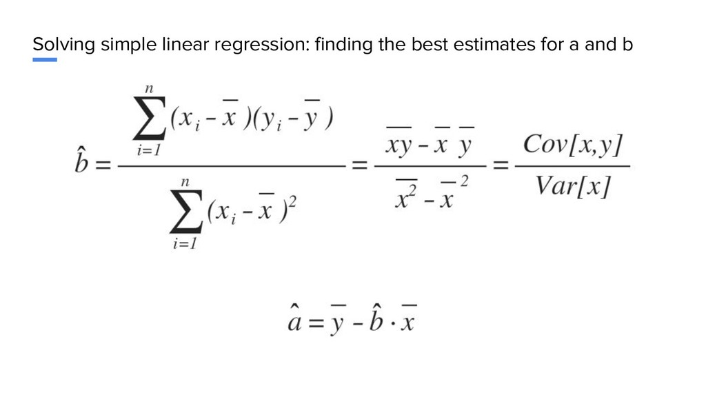 Solving simple linear regression: finding the b...