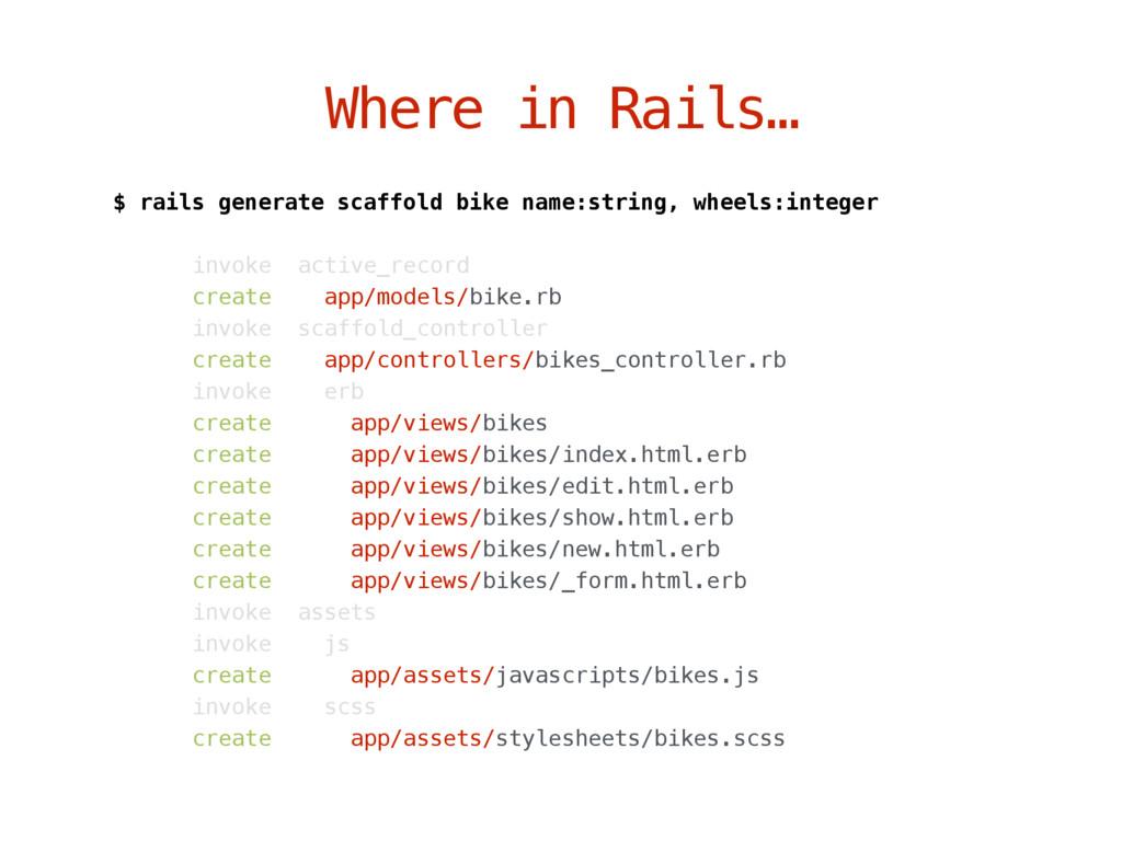 Where in Rails… $ rails generate scaffold bike ...