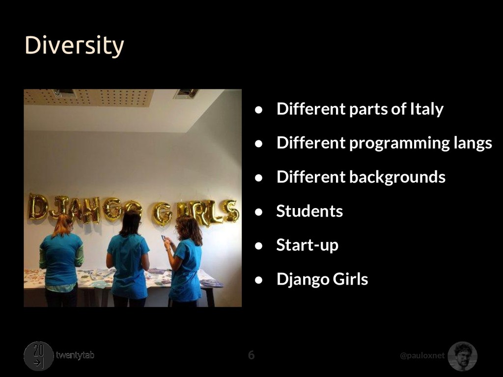 @pauloxnet Diversity 6 ● Different parts of Ita...