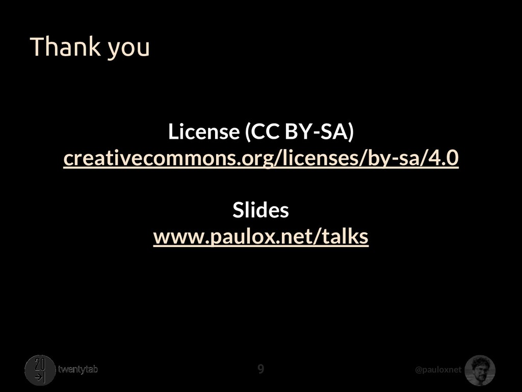@pauloxnet Thank you 9 License (CC BY-SA) creat...