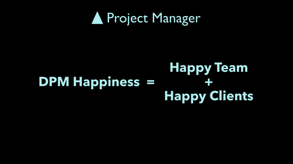 DPM Happiness = Happy Team + Happy Clients Proj...