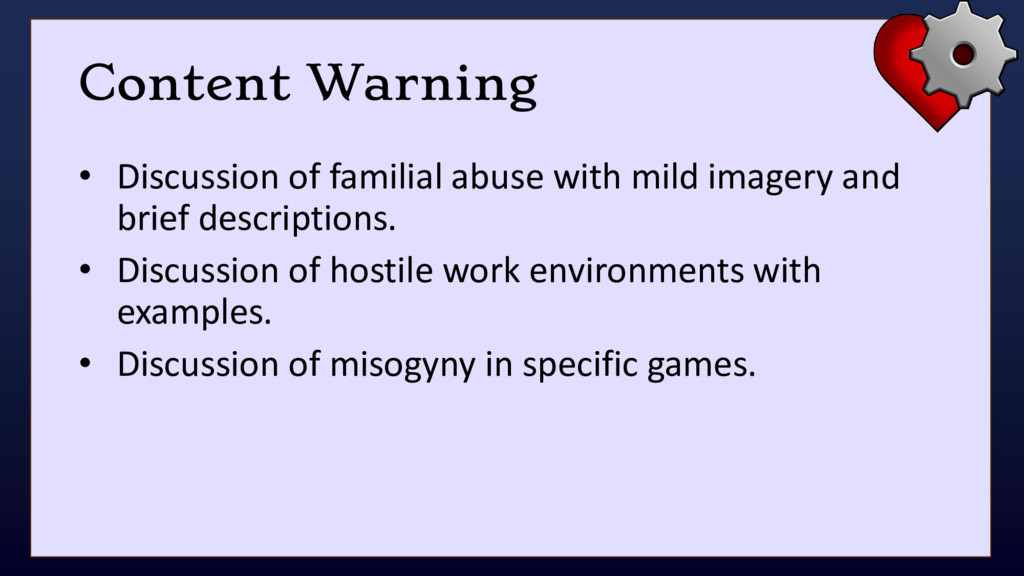 Content Warning • Discussion of familial abuse ...