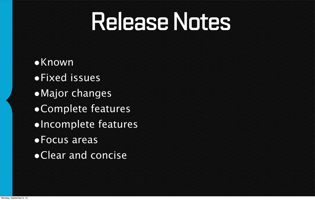 Release Notes •Known •Fixed issues •Major chang...