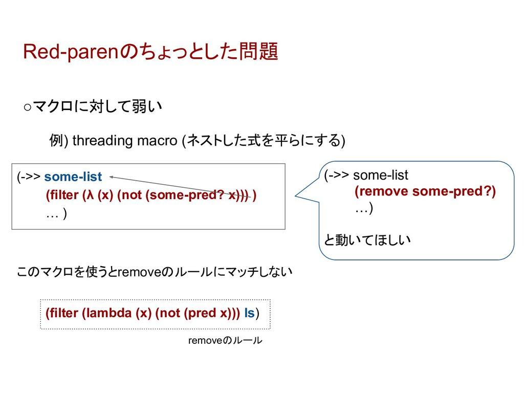 Red-parenのちょっとした問題 ○マクロに対して弱い 例) threading macr...