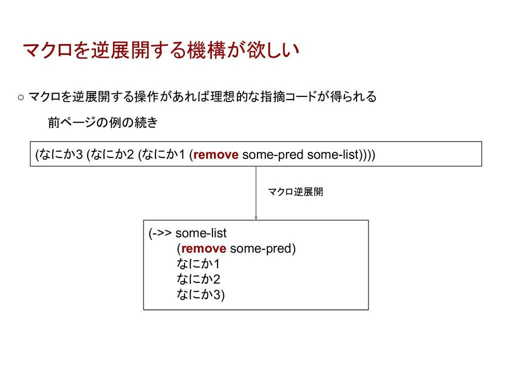 マクロを逆展開する機構が欲しい (->> some-list (remove some-pre...