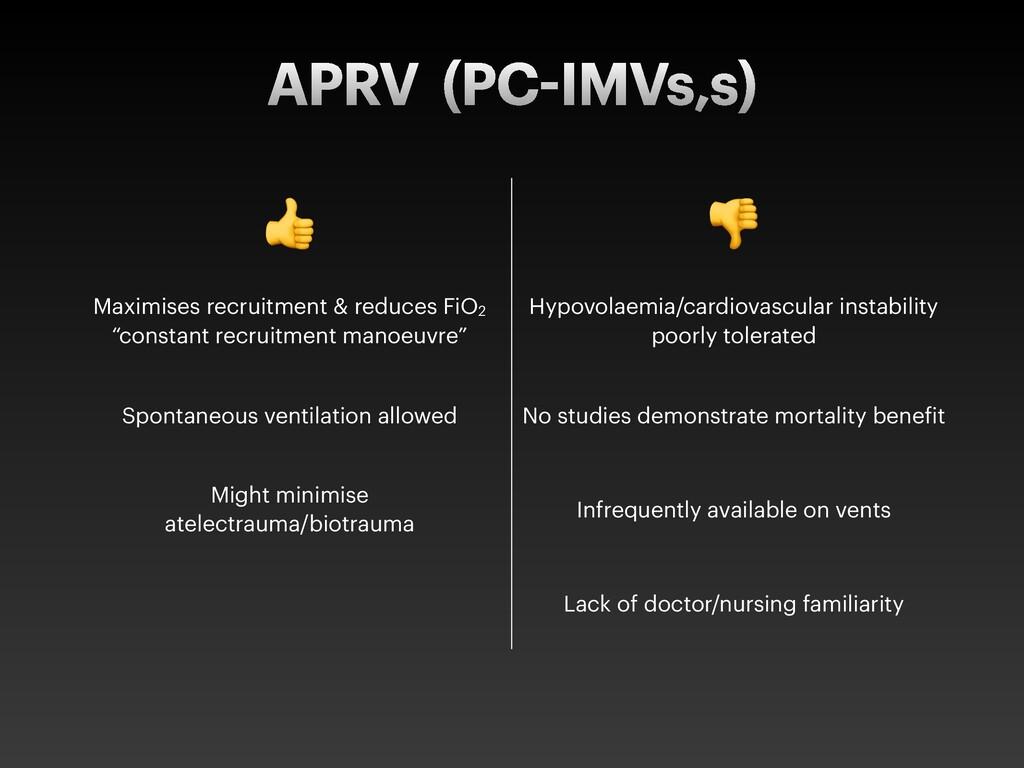 """APRV (PC IMVs,s) ! """" Maximises recruitment & re..."""