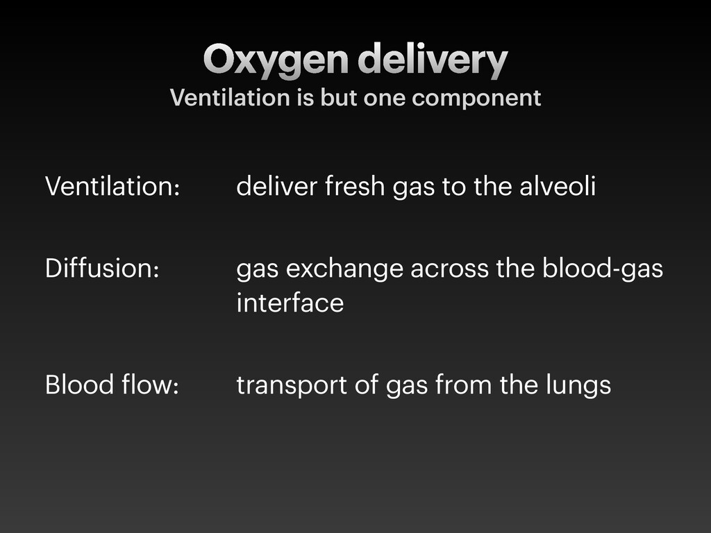 Ventilation: deliver fresh gas to the alveoli D...