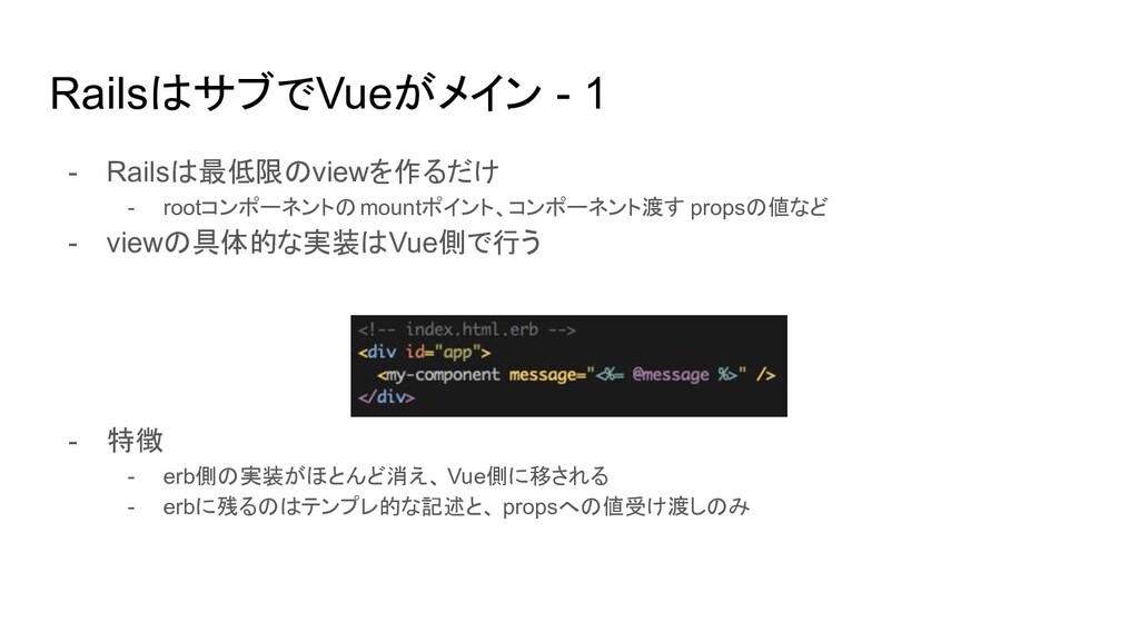 RailsはサブでVueがメイン - 1 - Railsは最低限のviewを作るだけ - ro...
